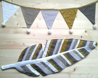 Nursery decor baby/child - mat together patchwork feather and Bunting with tassels - tone mustard fabric