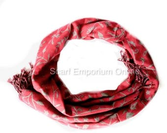 Handmade 2 in 1 Reversible  Autumn scarf in grey or pink