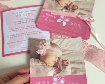 Pink butterfly girl baptism invitation