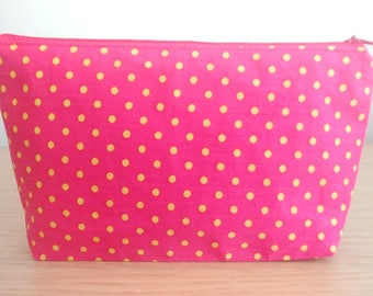 Pink Spotted Cosmetic Bag, Makeup Bag, Small Cosmetic Bag, Small Makeup Bag, Gifts for Her, Mothers Day Gift, Pink Makeup Bag, Pink Cosmetic