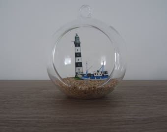 Suspension / glass ball Loc Creach lighthouse and boat to hang or lay fisherman decoration