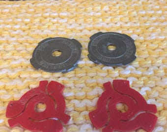 Mid century 45 RPM Record Adapters Metal and Plastic