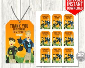 Wild Kratts Thank You Tags, Wild Kratts Tags, Wild Kratts Favor Tags, Wild Kratts Birthday Party, Wild Kratts Editable PDF, Instant Download