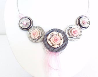 Pretty pink romantic necklace made with buttons