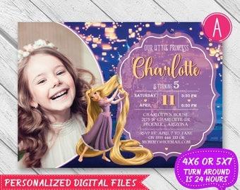 Rapunzel invitation, Rapunzel birthday invitation, Rapunzel tangled, Rapunzel party invite, Disney Princess Invitation, Tangled invitation