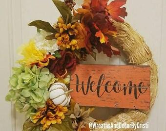 Fall Wreath, Welcome Wreath, Autumn Wreath, Halloween Wreath, Pumpkin Wreath, Holiday Wreath, Cheap Wreaths, Fall Door Hanger, Fall Wreaths