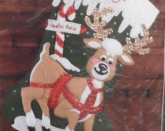 Christmas FELT Stocking North Pole Reindeer BUCILLA Gallery of Stitches #32965