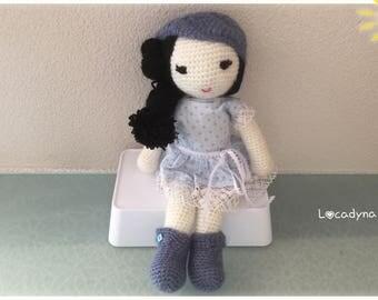Doll Amigurumi Amandine-birthday gift kids room or Christmas-Hand Made doll romantic white blue black-Crochet Amigurumi Doll