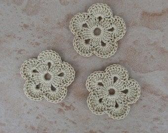 set of 3 beige 5 petals crochet flowers