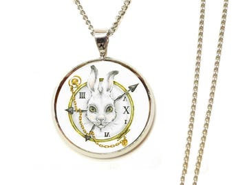 Long necklace rabbit Alice in Wonderland country