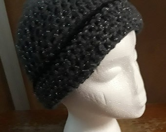 Lovely Smoke Grey and Silver Ladies Beret