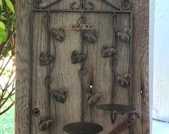 Antique Reclaimed Wood / Metal Candle Holder