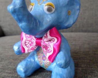 Object decorative blue elephant paper mache
