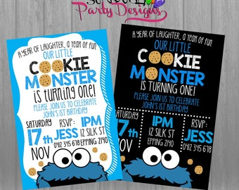 Cookie Monster Birthday Invite, Cookie Monster Invitation, Cookie Monster First Birthday Invitation, Cookie Monster first birthday