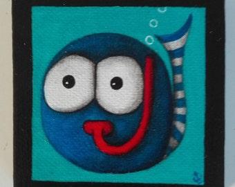 Magnet mini magnetic canvas frame, blue fish