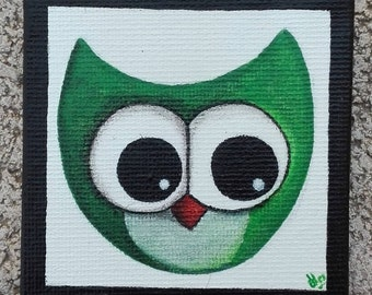 Magnet, mini green OWL painting magnet