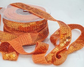 Ribbon stripe glitter orange 20 mm