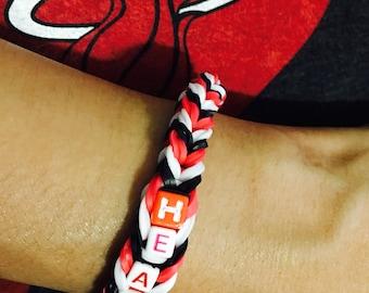 Miami Heat Red, Black and White Bracelet