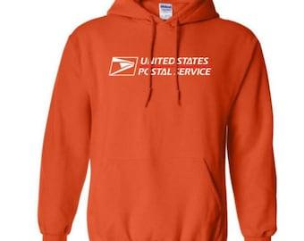 USPS Orange Hooded Postal Sweatshirt. All Sizes Available!