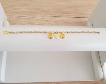 Bracelet adjustable brass plated gold