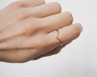 Chevron ring, gold chevron ring, delicate ring, delicate gold ring, dainty jewelry R063