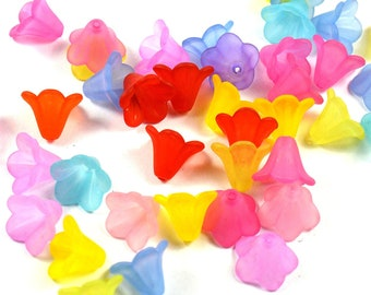 30 pcs Beads colorful flowers frosted effect matte acrylic plastic effect sea glass | cups flowers | about 10mm