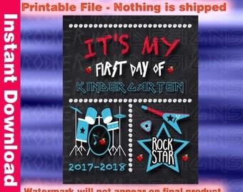 Kindergarten Chalkboard, Instant Download, First Day Of School Sign, Printable Back To School Sign, Back To School Chalkboard, Poster, Boy