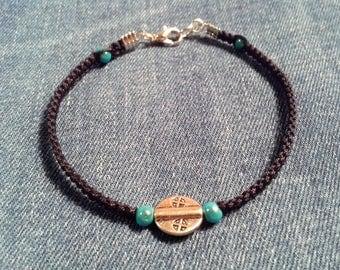 Black waxed cotton thread woven bracelet