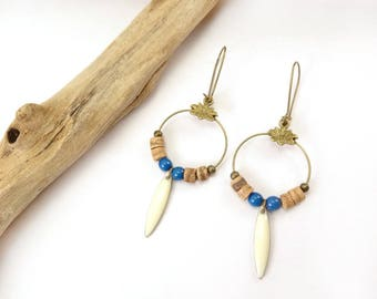 "Earrings ""Jodhpur"" blue, white & wood"