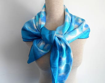 Silk scarf natural hand painted in shades of blue - unique