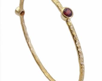 Garnet Bangle Bracelet