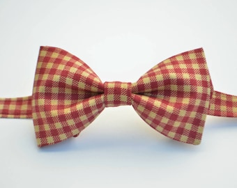 Wine Plaid Bow Tie-Christmas Bow Ties-Adult Bow Tie-Kids bow Ties-Toddler Bow Ties-Burgundy Red Bow Ties-Bow Ties For Men- Clip On Bow Ties