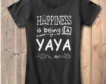 Happiness is Being a Yaya T-shirt Grandma Gift