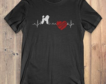 Poodle Dog T-Shirt Gift: Poodle Heartbeat