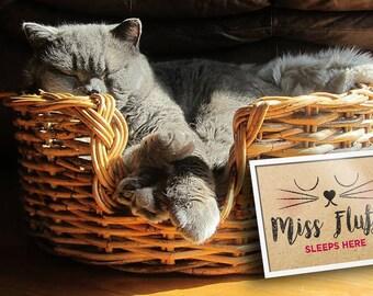 Personalised 'Cat Sleeps Here' frame