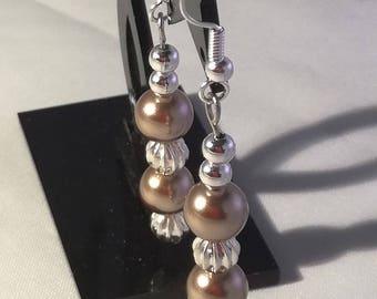 Silver plated Stud Earrings, pearls Swarovski black or bronze