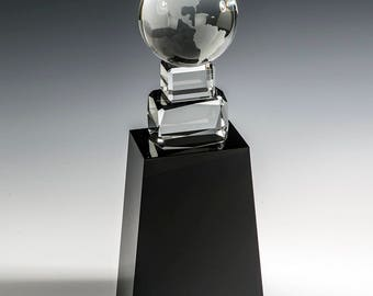 Crystal Around the World Engraved Recognition Award