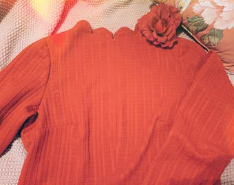 Handmade scalloped collar Ruby Red vintage inspired dress