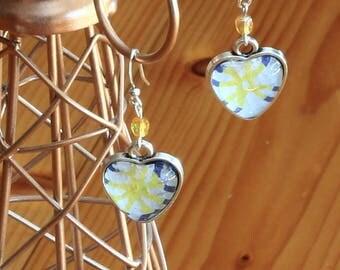 """Heart cabochons """"Sun"""" earrings"""