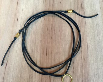 Gold circle wrap necklace