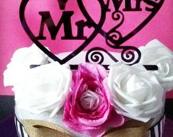 Mr and Mrs Cake Topper, Wedding Cake Topper, Heart Cake Topper, Custom Cake Topper