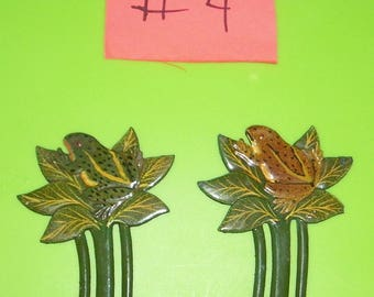 Set of 2 Frog on a Plant Painted Bookmarks NOS 1980's