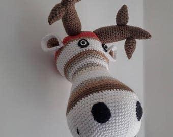 Reindeer - made crocheted head trophy