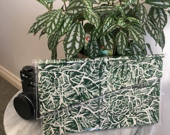 Green Roses- Linoprinted Clutch