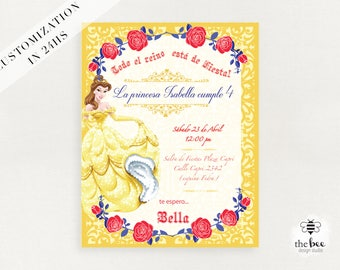 Beauty and Beast, Bella y Bestia Invitacion personalizada