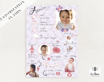 Baby infographic Baby infography poster, card. Infografia bebe poster, tarjeta. Customized in 24hs