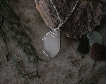 Clear Oval Sea Glass Necklace