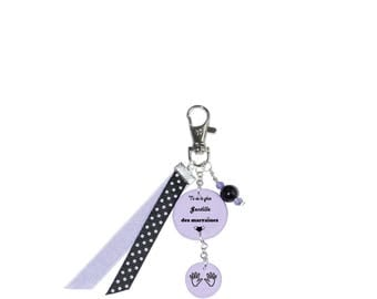 """Bag charm """"You're the sweetest godmothers"""" Purple"""