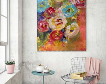 Bed of Roses Art Print from Original Painting - Vibrant Florals Select Your Size