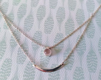 Double necklace 925 sterling silver with rose Quartz